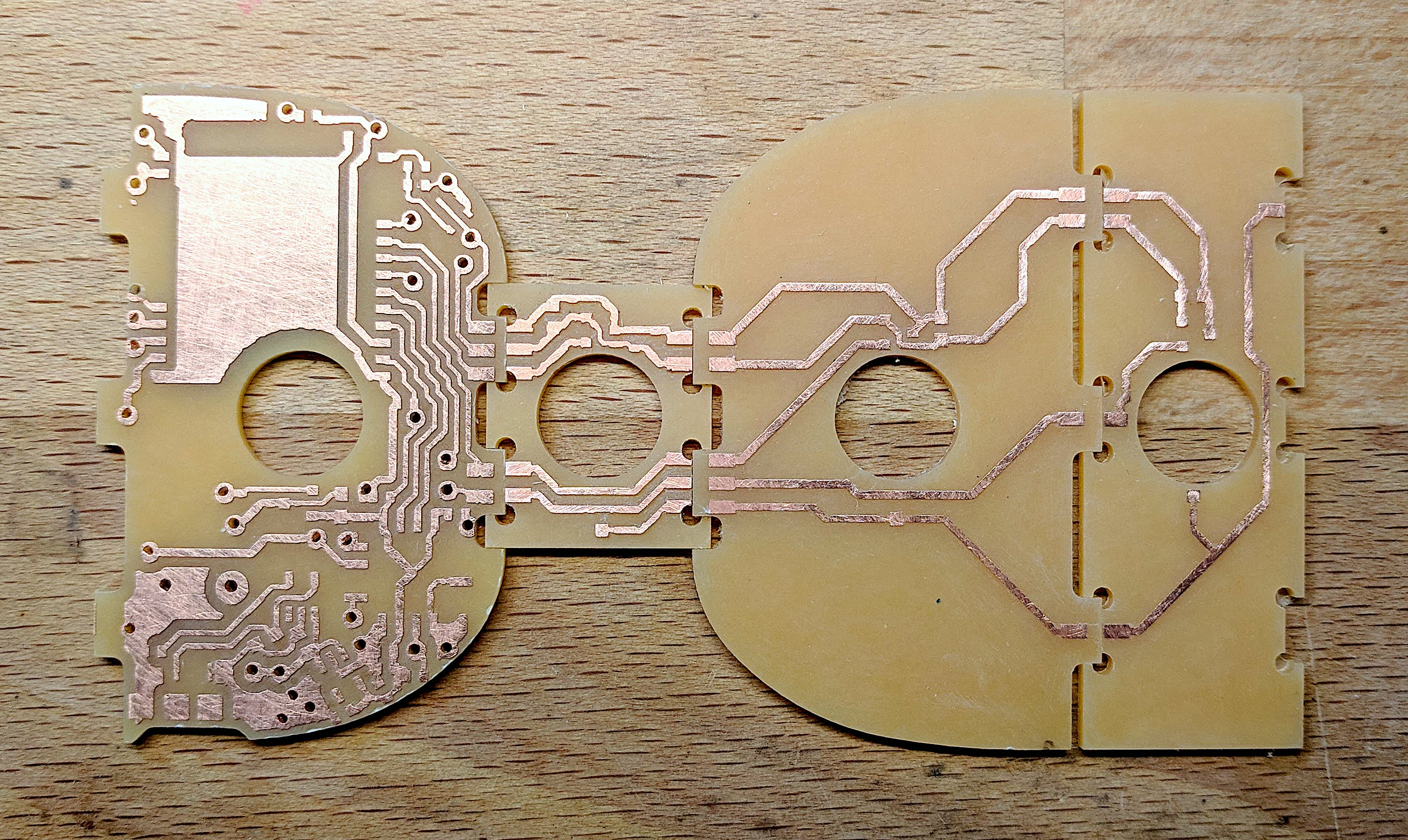 Slotted PCBs fit together to make the sides